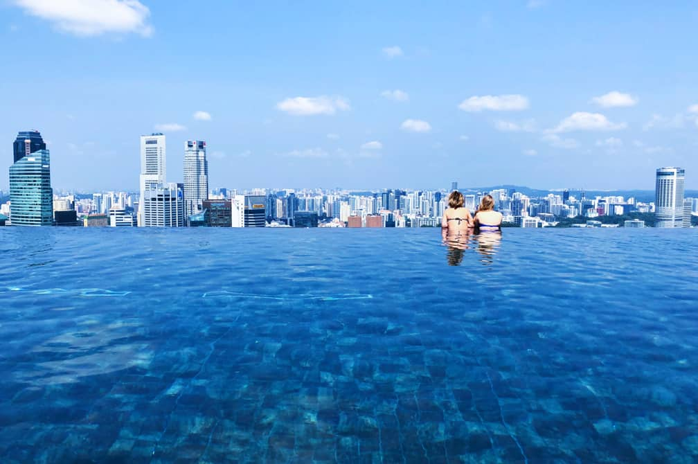 Infinity pool on the roof of the Marina Bay Sands Hotel, Singapore