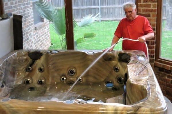 Refilling a hot tub